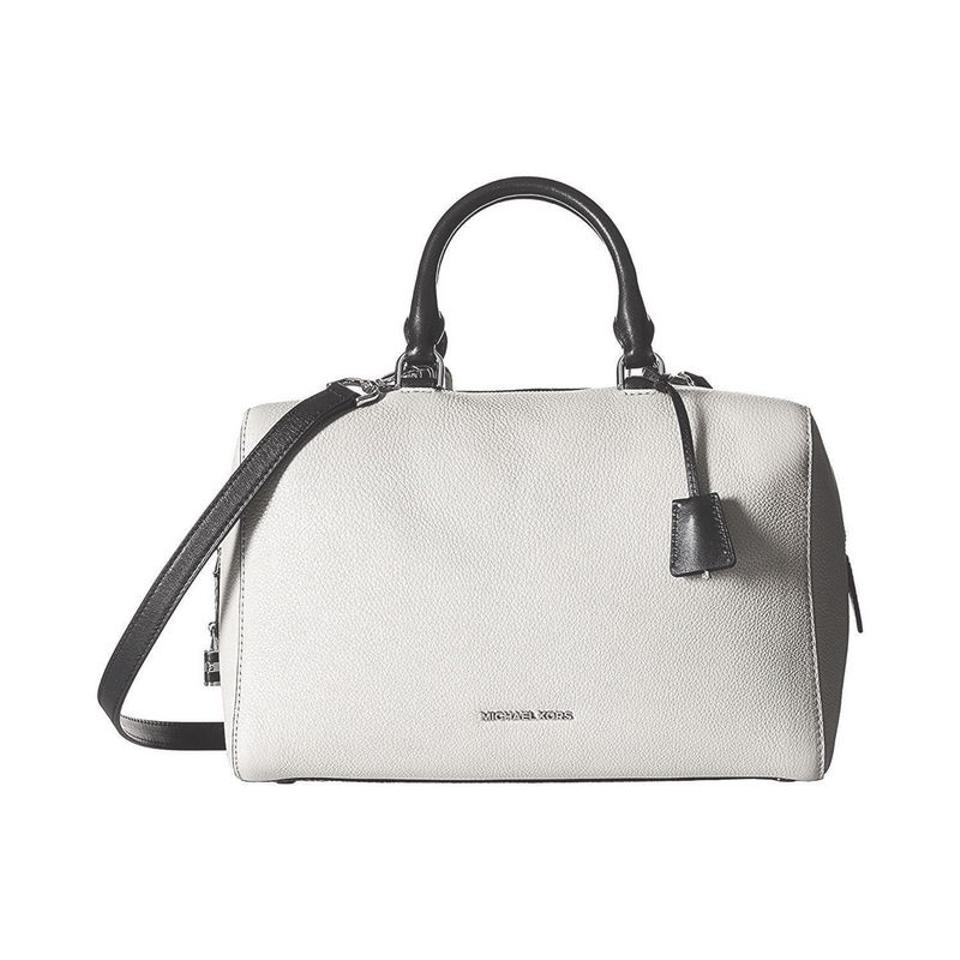 7d4b7dbe7045 Michael Kors Kirby Medium Pebbled Leather Satchel in White / Black Image 0  ...