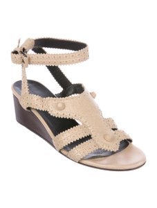 06df69cee1be Balenciaga Leather Brogue Open Toe Ankle Strap beige Sandals