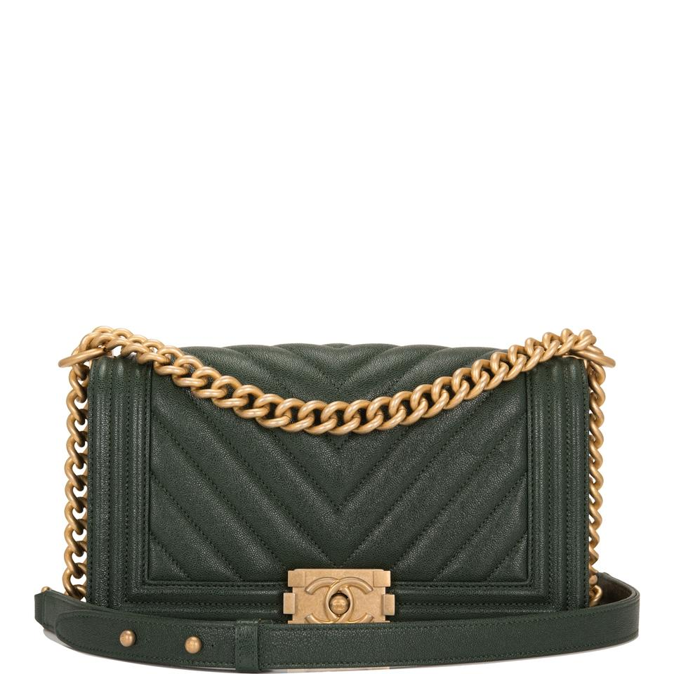 0194efbfb363cf Chanel Boy Dark Shiny Chevron Quilted Caviar Medium Green Leather ...