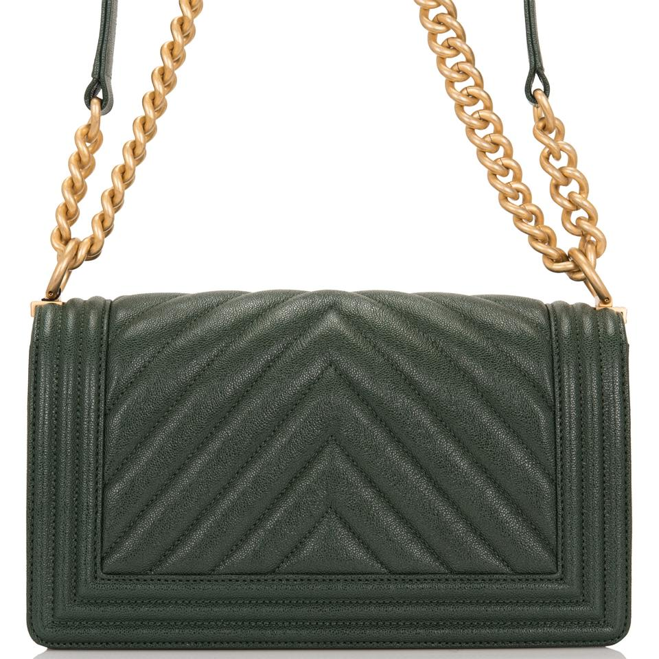 528c4112f672 Chanel Boy Dark Shiny Chevron Quilted Caviar Medium Green Leather ...