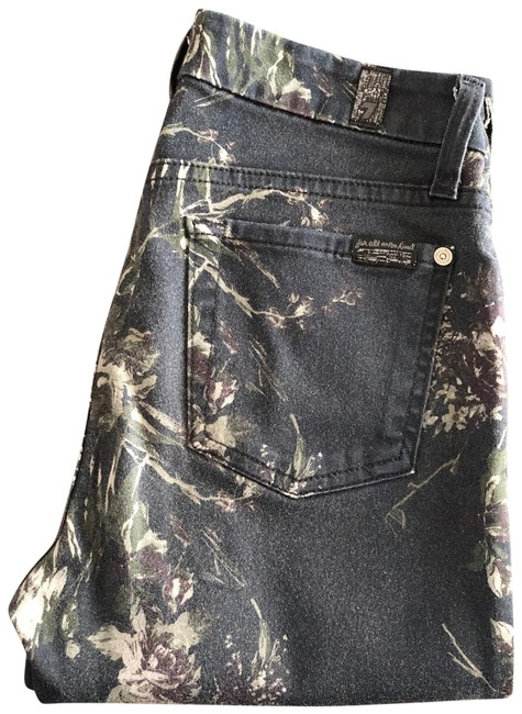 Item - Black with Floral Print Light Wash Skinny Jeans Size 2 (XS, 26)