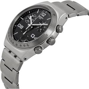 Swatch YCS564G Men's Silver Steel Band With Black Analog Dial Genuine