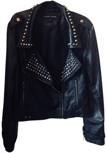 Blanc Noir Leather Studded Polyurethane Viscose Motorcycle Jacket