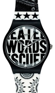 Swatch SUOZ124 Unisex Two Tone Rubber Band With White Analog Dial Genuine