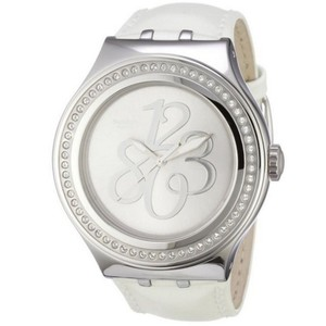 Swatch YNS107 Women's White Leather Band With Silver Analog Dial Genuine