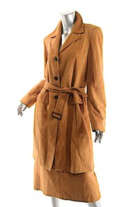 acff23c0ae Ellen Tracy COMPANY ELLEN TRACY Cognac 100% Softest Suede Belted Coat Skirt  Suit
