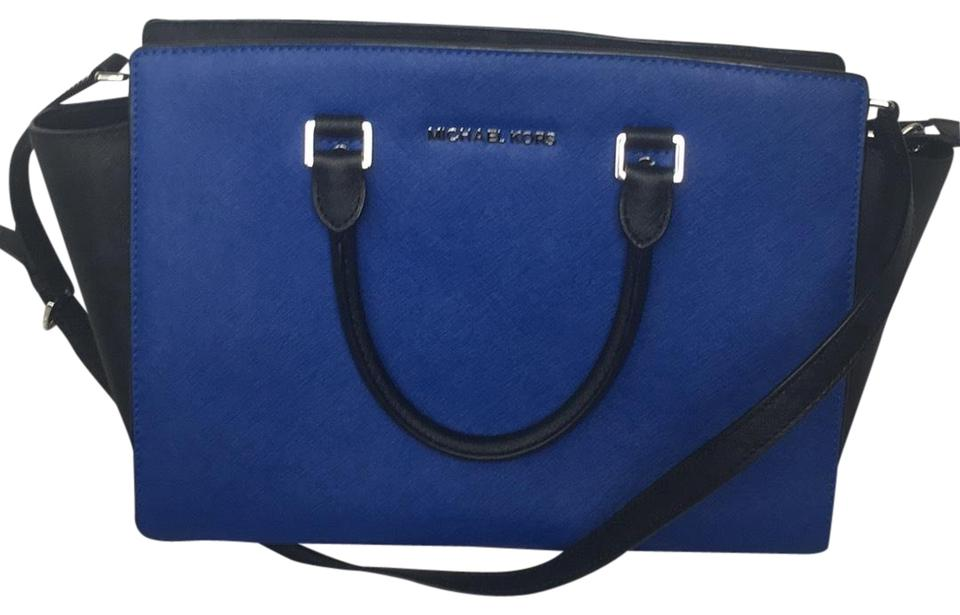 23f5e324d315 Michael Kors Collection Color By Black and Royal Blue Coated Canvas ...