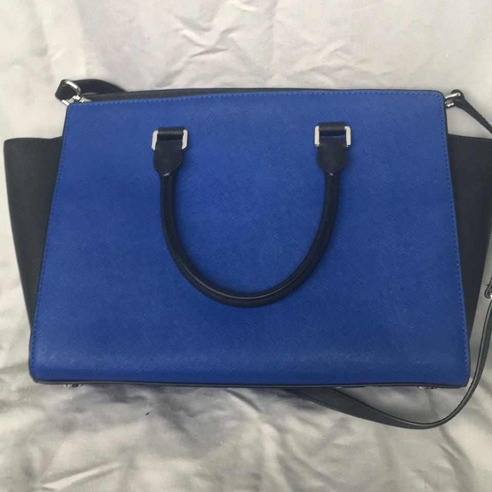 f0f42d110e8e Michael Kors Collection Color By Black and Royal Blue Coated Canvas  Shoulder Bag - Tradesy