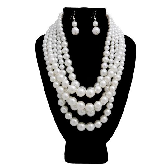 Preload https://img-static.tradesy.com/item/24134785/white-fashion-chunky-pearl-multi-layer-and-earrings-necklace-0-0-540-540.jpg