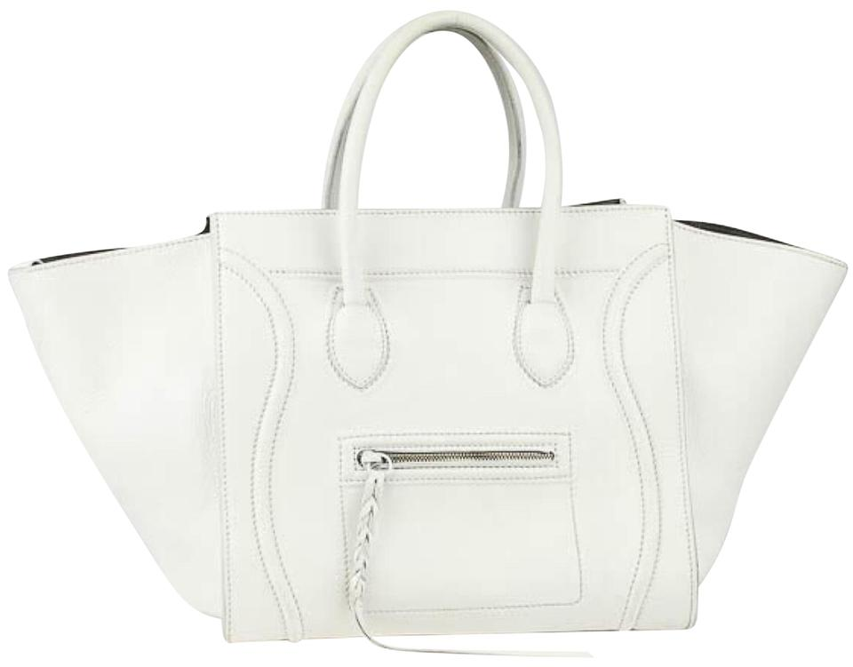 27280f1dde Céline Cabas Phantom Luggage White Smooth Calfskin Leather Small Tote