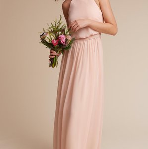 Donna Morgan Blush Poly-chiffon Bhldn Alana - Feminine Bridesmaid/Mob Dress Size 4 (S)