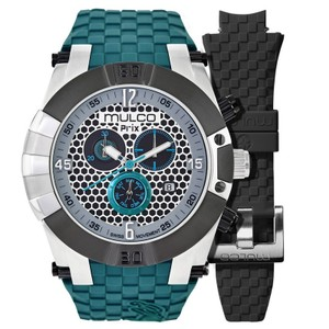 Mulco MW53068435 Men's Green Silicone Band With Silver Analog Dial Watch
