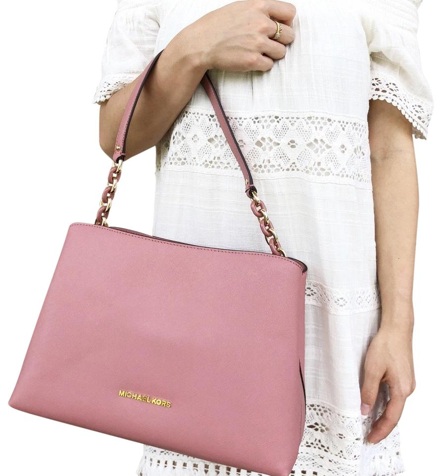 fe8b61653372 Michael Kors East West Sofia Portia Crossbody Rose Pink Leather Satchel