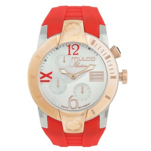 Mulco MW51877063 Unisex Red Silicone Band With White Analog Dial Watch