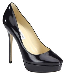 Jimmy Choo Cosmic Patent Patent Leather Pl Platform Hidden Platform Stiletto Pointed Toe Black Pumps