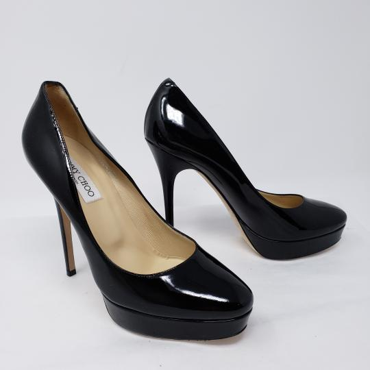 Jimmy Choo Cosmic Patent Leather Platform Pointed Toe Anouk Black Pumps Image 2