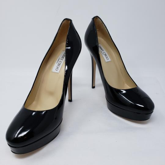 Jimmy Choo Cosmic Patent Leather Platform Pointed Toe Anouk Black Pumps Image 3