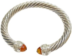 """David Yurman David Yurman Citrine and Diamond Classic Cable Bracelet Sterling silver Beautiful citrine at both ends of bangle with diamonds 0.48 carat total weight Small- 6.75"""" 7mm 100% Authentic Guaranteed Comes inside original David Yurman pouch!"""