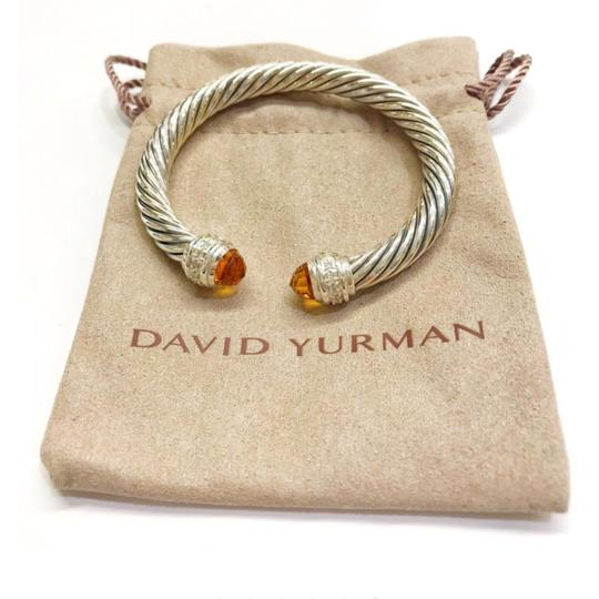 David Yurman David Yurman Citrine and Diamond Classic Cable Bracelet Sterling silver Beautiful citrine at both ends of bangle with diamonds 0.48 carat total weight Small- 6.75