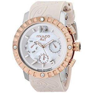 Mulco MW51876113 Unisex Beige Silicone Band With White Analog Dial Watch