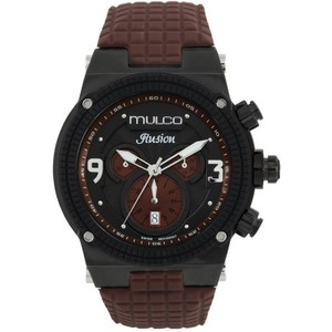 Mulco MW312140035 Unisex Brown Silicone Band With Black Analog Dial Watch