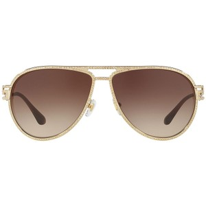 Versace Women Aviator Sunglasses Metal Frame with Brown Lens