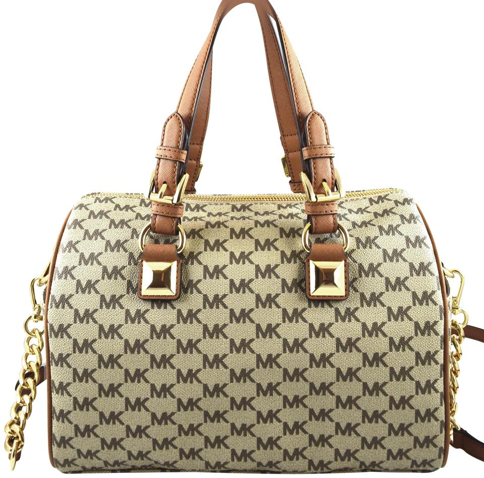 0d872221f318 Michael Kors Grayson Brown Natural Acorn Faux Leather Satchel - Tradesy
