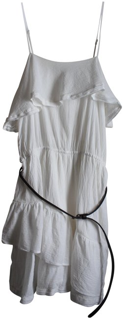 Item - White Cotton Gauze with Belt Long Short Casual Dress Size 12 (L)