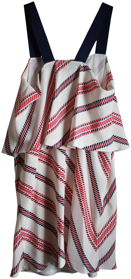 1883b93b Zara Red White and Blue Ruffle Striped Short Casual Dress Size 12 (L ...