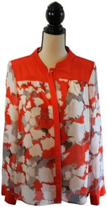 Very J Longsleeve Polyester Color-blocking Top Orange and White Floral