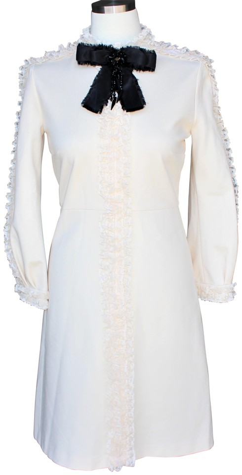 Gucci Ivory Lace Trim Bow Mid Length Night Out Dress Size 12 L