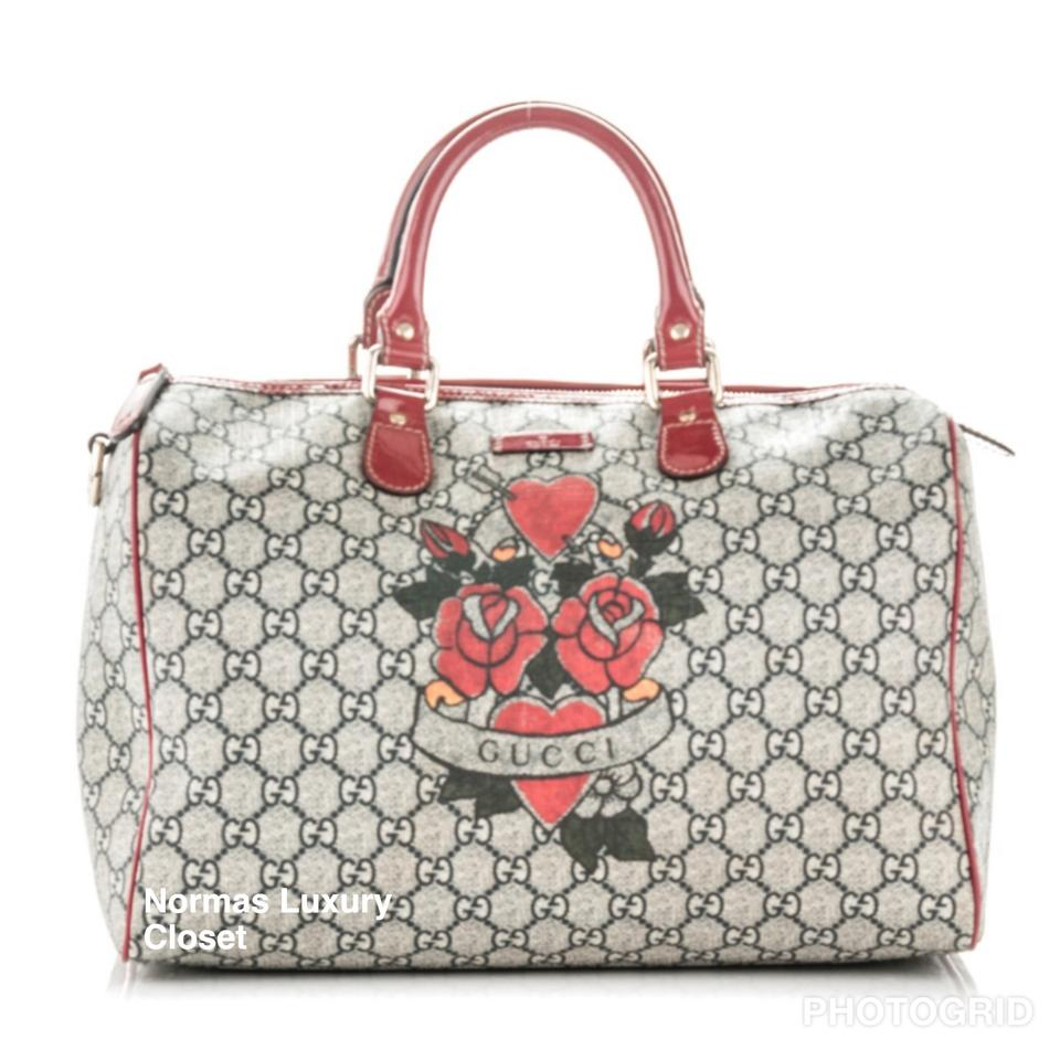 11b6e032d Gucci Joy Bag Boston Tattoo Heart Grey Red Gg Monogram Canvas ...