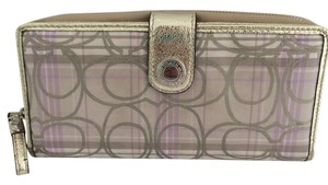 Coach ZIP AROUND AND SNAP WALLET PURPLE BEIGE