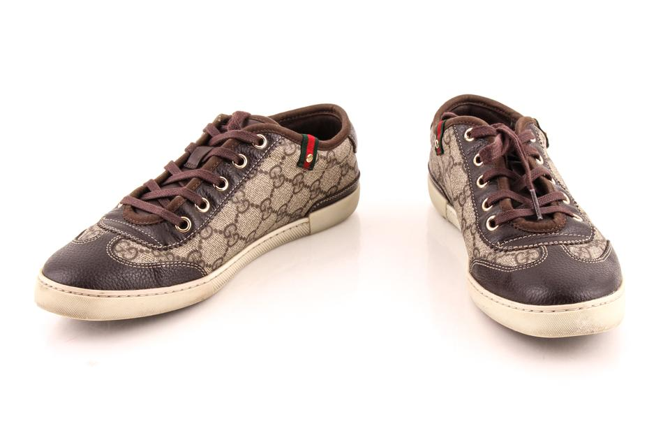 612333450 Gucci Brown Gg Supreme Coated Canvas Barcelona Sneakers. Size: US 6.5  Regular ...