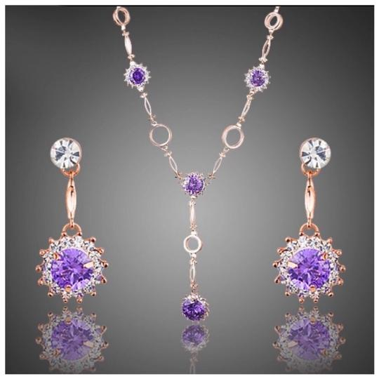 Preload https://img-static.tradesy.com/item/24135942/rose-gold-and-purple-swarovski-crystals-the-alesandra-s1-necklace-0-0-540-540.jpg