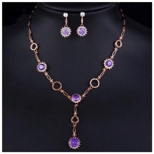 ME-Boutiques Private Label Collection Swarovski Crystals The Alesandra Purple Necklace Set S1