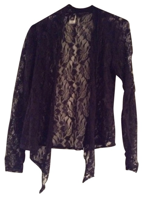 Item - Black Lace Longsleeve Coverup Express White Bebe Fancy Party Work Office Cardigan Size 4 (S)