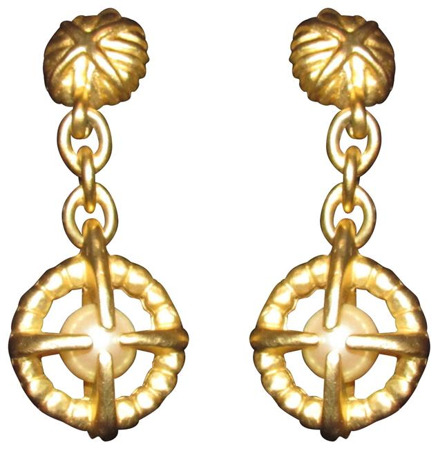Givenchy Brushed Gold with Large Pearls Earrings/Designer Earrings Image 1