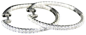 Jewelry Unlimited 14K Womens White Gold Diamond In And Out Hoops Earrings 1.25 Ct