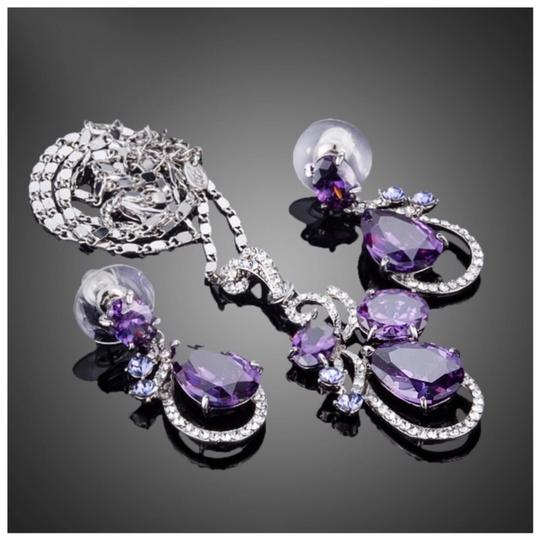 ME-Boutiques Private Label Collection Swarovski Crystals The Elita Purple Floating Necklace Set S2