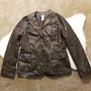 Liz & Co. Brown button down Leather Jacket