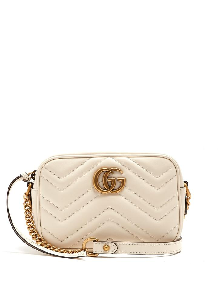0c03c9c8c9f Gucci Marmont New with Tag Gg Camera White Leather Cross Body Bag ...
