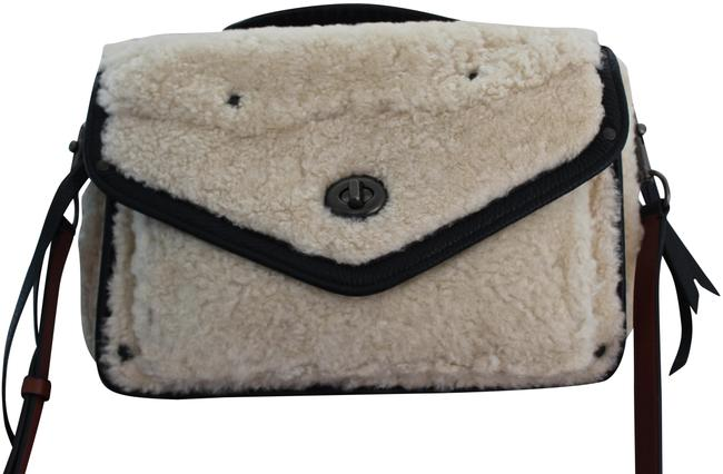 Item - Crossbody Rhyder Bag/Crossbody Ivory Sheep Shearling Wool with Black Pebbled Leather Trim Messenger Bag