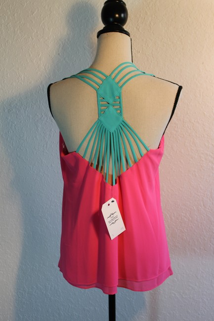 Vizio Strappy Polyester Open Shoulder Sleeveless Vibrant Pink and Teal Halter Top