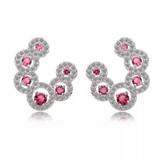 Preload https://img-static.tradesy.com/item/24136171/pink-silver-swarovski-crystals-the-anika-curved-s3-earrings-0-0-540-540.jpg
