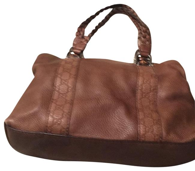 Item - Bamboo Woven Handles Buckles Logo Throughout Camel Brown Silver Accents Leather Satchel