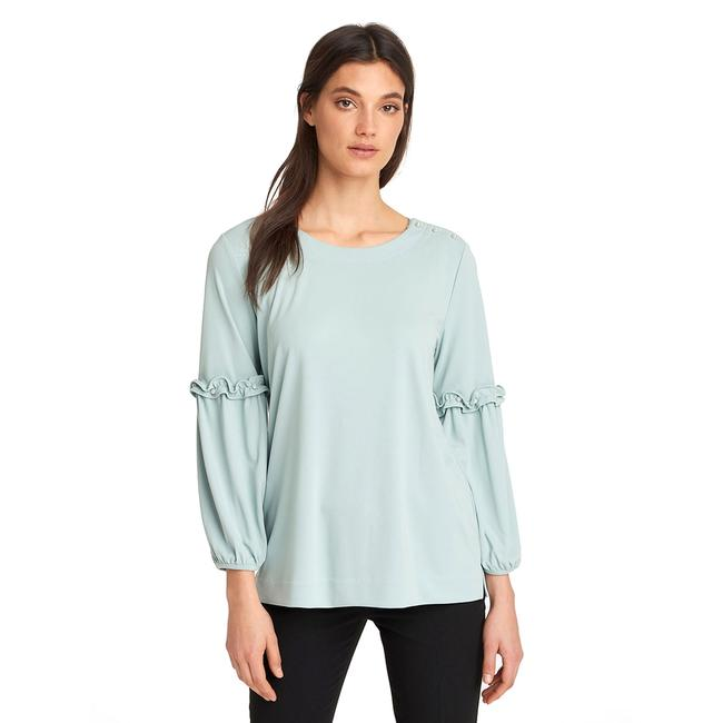 Preload https://img-static.tradesy.com/item/24136258/karl-lagerfeld-green-haze-women-s-poet-sleeve-knit-with-pearls-in-large-blouse-size-14-l-0-0-650-650.jpg