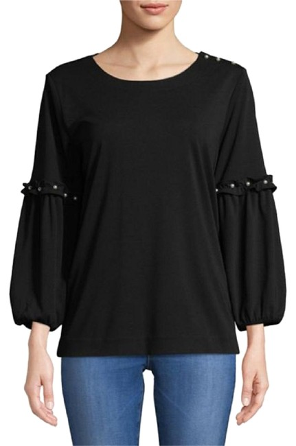 Preload https://img-static.tradesy.com/item/24136269/karl-lagerfeld-black-women-s-poet-sleeve-knit-with-pearls-in-large-blouse-size-14-l-0-1-650-650.jpg