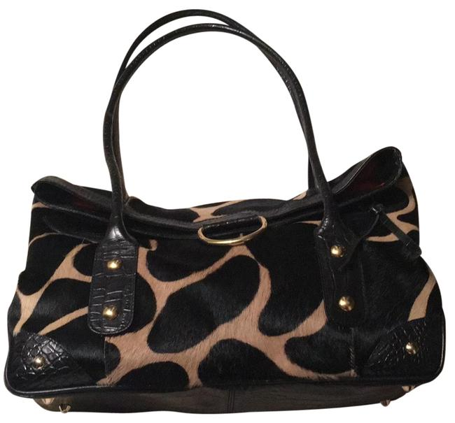 Maurizio Taiuti Print Black Embossed Leather Gold Accents Pony Hair Satchel Image 1