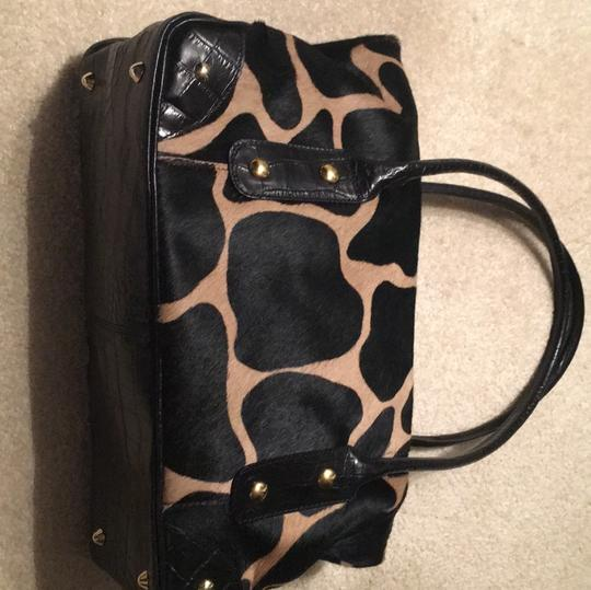 Maurizio Taiuti Satchel in black embossed leather, gold accents, pony hair
